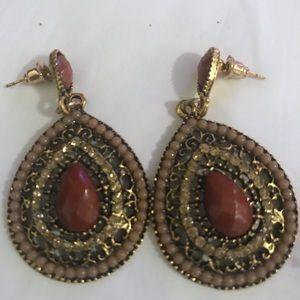 Crystal rhinestone boho caramel teardrop earrings